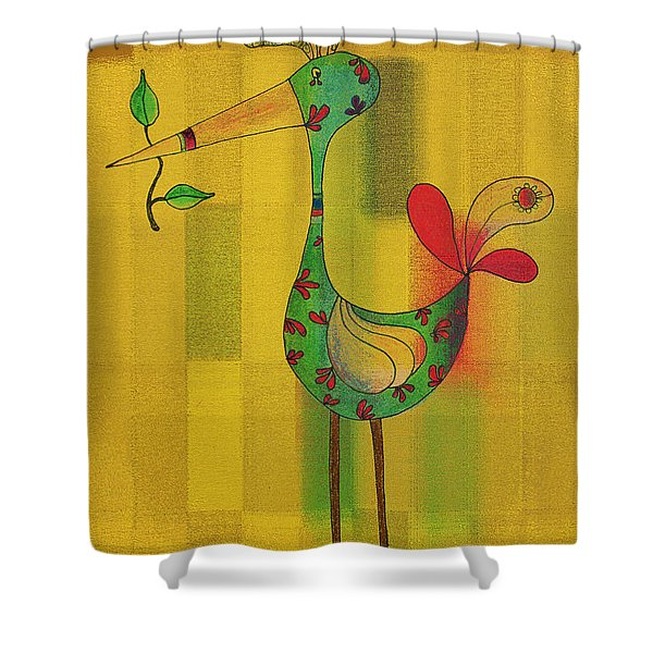 Lutgarde's Bird - 061109106y Shower Curtain by Variance Collections