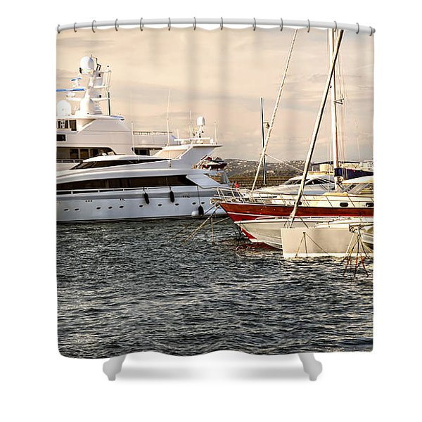 Luxury boats at St.Tropez Shower Curtain by Elena Elisseeva