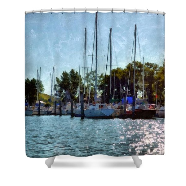 Macatawa Masts Shower Curtain by Michelle Calkins