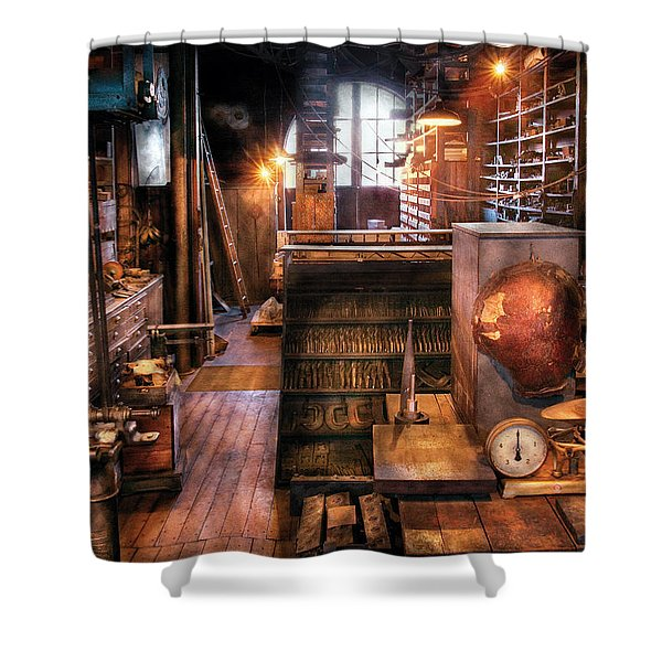 Machinist - Ed's Stock Room Shower Curtain by Mike Savad