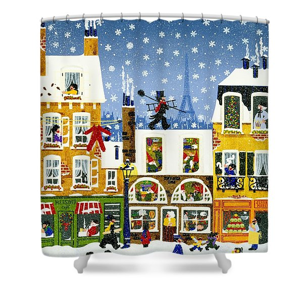 Made In Paris Shower Curtain by Merry  Kohn Buvia