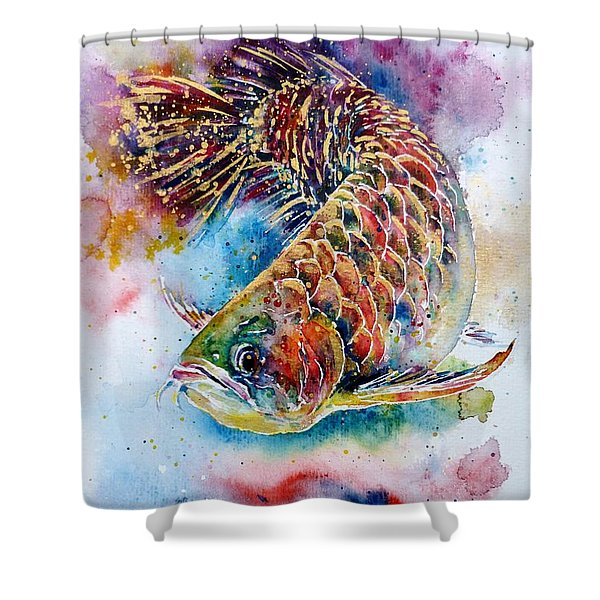 Magic of Arowana Shower Curtain by Zaira Dzhaubaeva