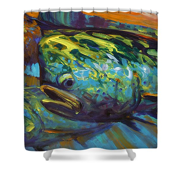Mahi At Sunset Shower Curtain by Savlen Art