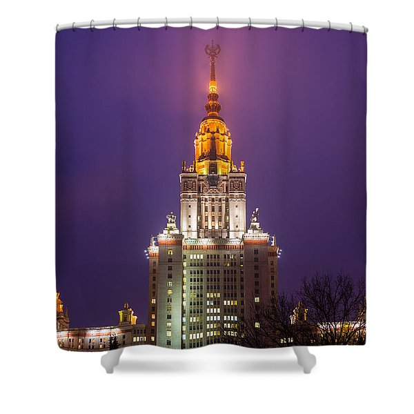 Main Building Of Moscow State University At Winter Evening - Featured 3 Shower Curtain by Alexander Senin