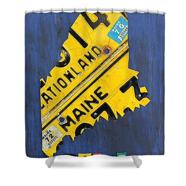 Maine License Plate Map Vintage Vacationland Motto Shower Curtain by Design Turnpike