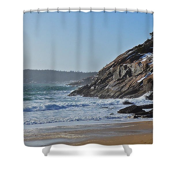 Maine Surfing Scene Shower Curtain by Meandering Photography