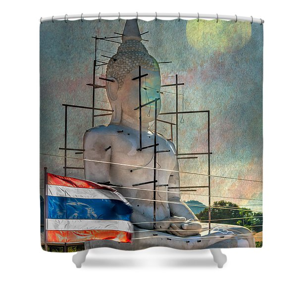 Making Buddha Shower Curtain by Adrian Evans