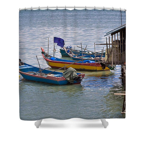 Malaysian Fishing Jetty Shower Curtain by Louise Heusinkveld