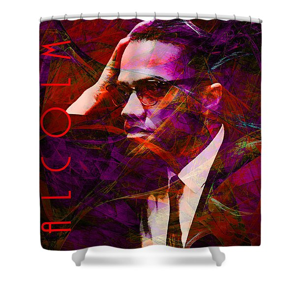 Malcolm X 20140105m28 with text Shower Curtain by Wingsdomain Art and Photography