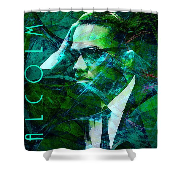 Malcolm X 20140105p138 with text Shower Curtain by Wingsdomain Art and Photography