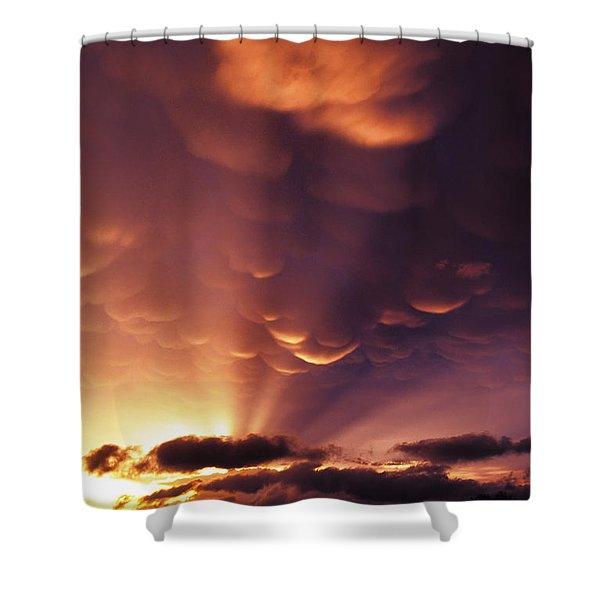 Mammatus Sunset Over Colorado Shower Curtain by Jason Politte