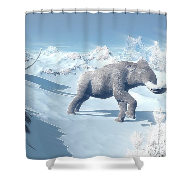 Mammoths Walking Slowly On The Snowy Shower Curtain by Elena Duvernay