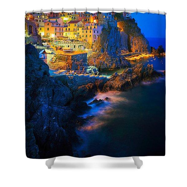 Manarola Lights Shower Curtain by Inge Johnsson