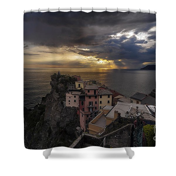 Manarola Sunset Storm Shower Curtain by Mike Reid