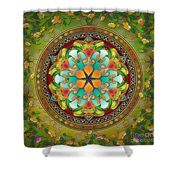 Mandala Evergreen Shower Curtain by Bedros Awak