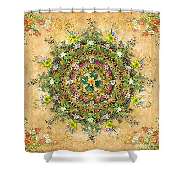 Mandala Flora Shower Curtain by Bedros Awak