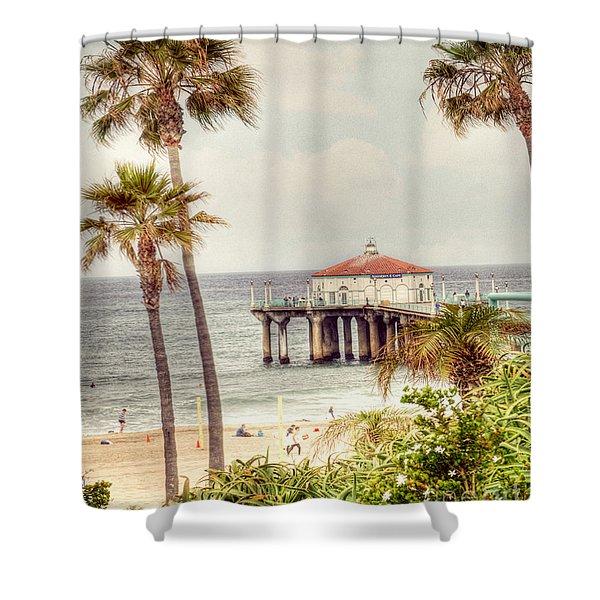 Manhattan Beach Pier Shower Curtain by Juli Scalzi