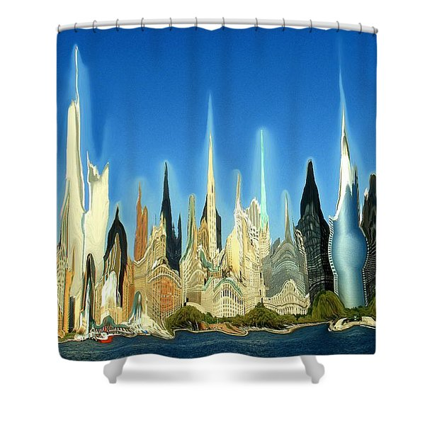 Manhattan Picture Digital Art Shower Curtains For Sale