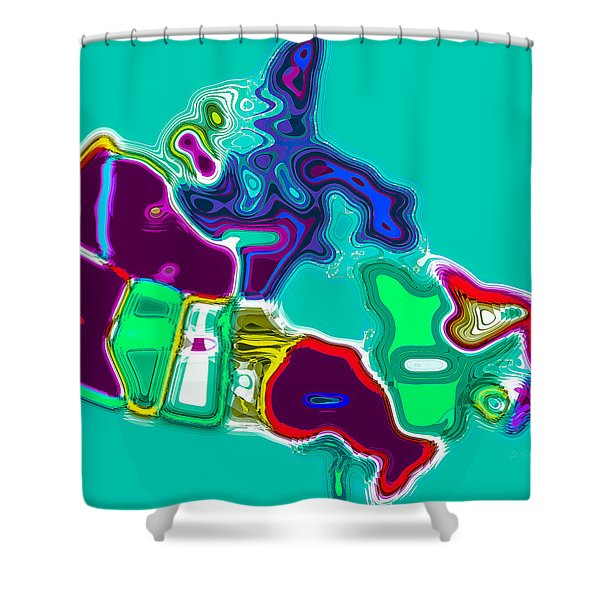 Map Of Canada Digital Painting Shower Curtain by Eti Reid