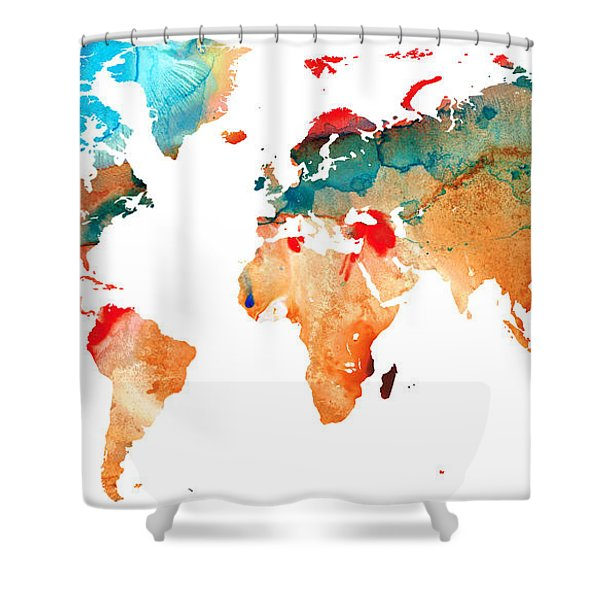 Map Of The World 7 -colorful Abstract Art Shower Curtain by Sharon Cummings