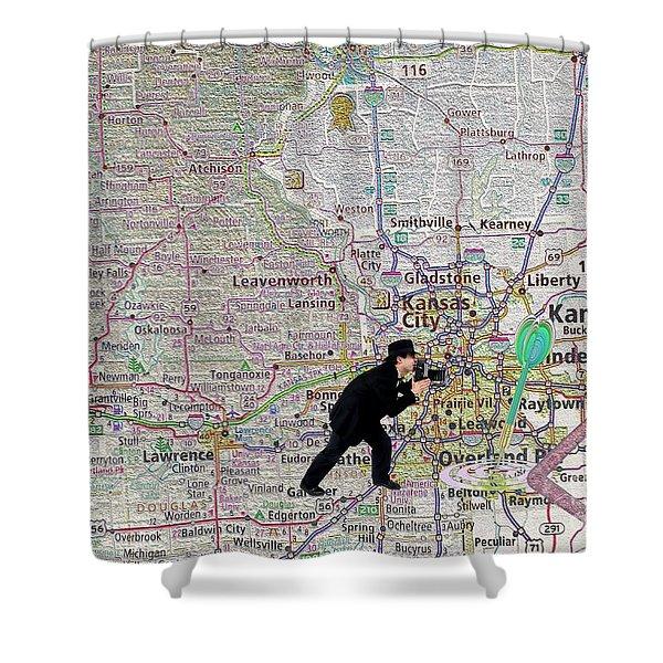 Map Overland Park Kansas Shower Curtain by Liane Wright