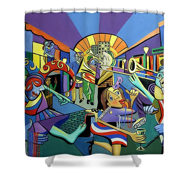 Mardi Gras lets get the party started Shower Curtain by Anthony Falbo
