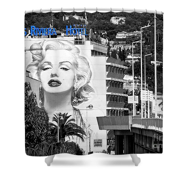 Marilyn In Cannes Shower Curtain by Jennie Breeze