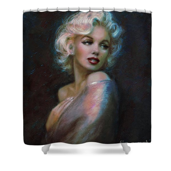 Marilyn romantic WW dark blue Shower Curtain by Theo Danella