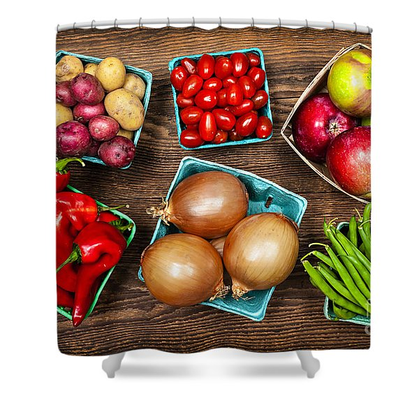 Market fruits and vegetables Shower Curtain by Elena Elisseeva