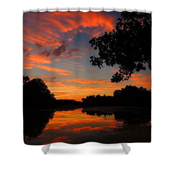 Marlu Lake At Sunset Shower Curtain by Raymond Salani III