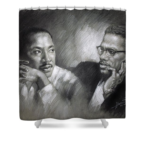 Martin Luther King Jr and Malcolm X Shower Curtain by Ylli Haruni