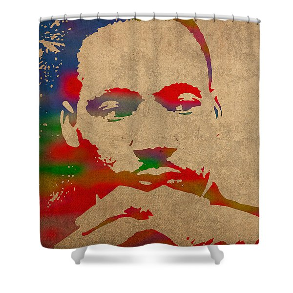 Martin Luther King Jr Watercolor Portrait on Worn Distressed Canvas Shower Curtain by Design Turnpike