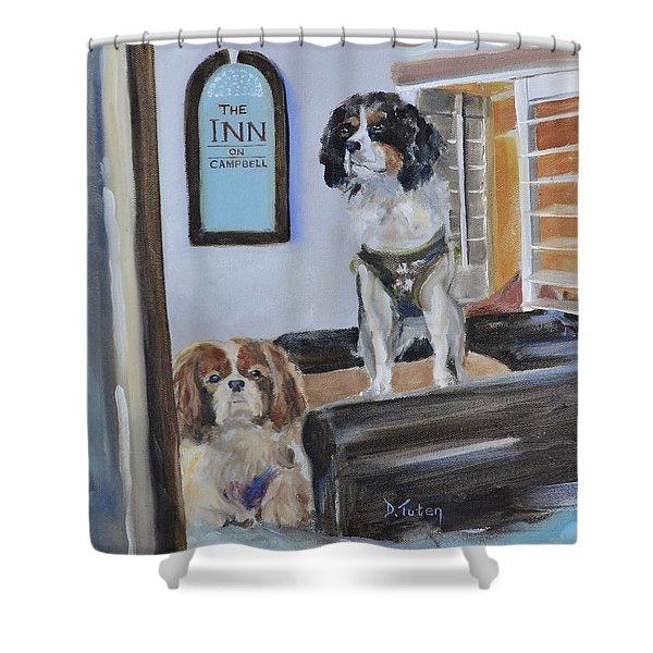 Mascots of The Inn Shower Curtain by Donna Tuten