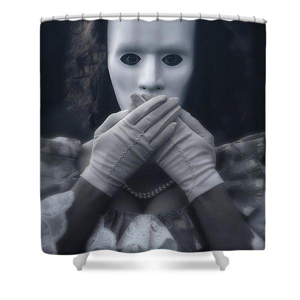 Masked Woman Shower Curtain by Joana Kruse