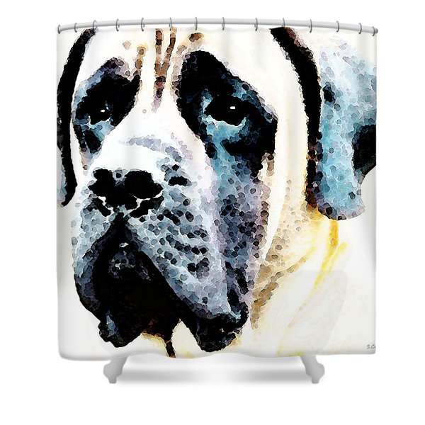 Mastif Dog Art - Misunderstood Shower Curtain by Sharon Cummings