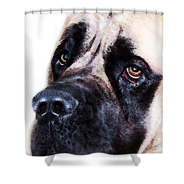 Mastiff Dog Art - Sad Eyes Shower Curtain by Sharon Cummings