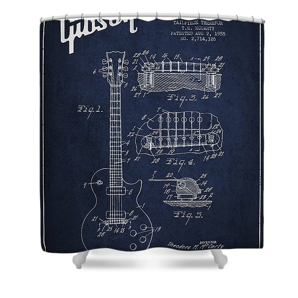 Mccarty Gibson Les Paul guitar patent Drawing from 1955 - Navy Blue Shower Curtain by Aged Pixel