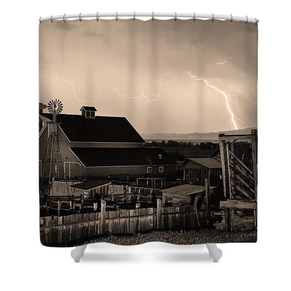 McIntosh Farm Lightning Sepia Thunderstorm Shower Curtain by James BO  Insogna