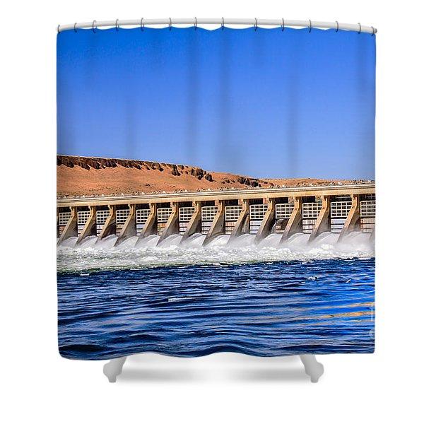 McNary Dam Shower Curtain by Robert Bales