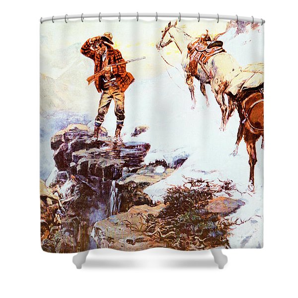 Meats Not Meat Til Its In The Pan Shower Curtain by Charles Russell