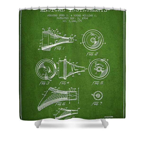 Medical Instrument Patent From 1964 - Green Shower Curtain by Aged Pixel