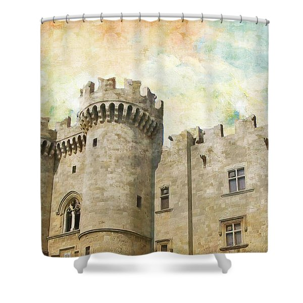 Medieval City of Rhodes Shower Curtain by Catf