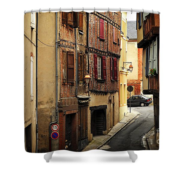 Medieval street in Albi France Shower Curtain by Elena Elisseeva