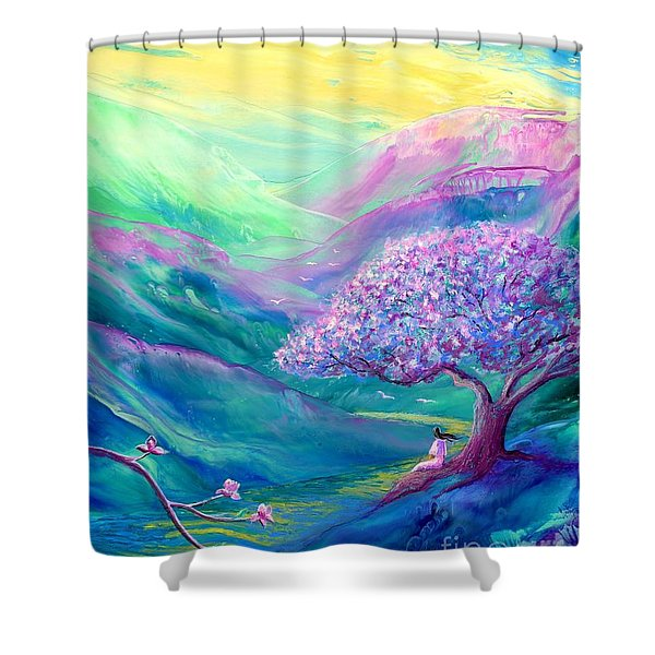 Meditation in Mauve Shower Curtain by Jane Small