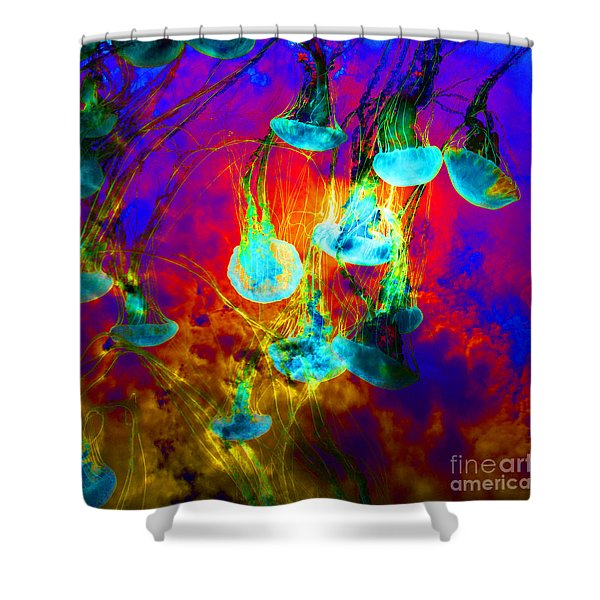 Medusas On Fire 5d24939 Square Shower Curtain by Wingsdomain Art and Photography