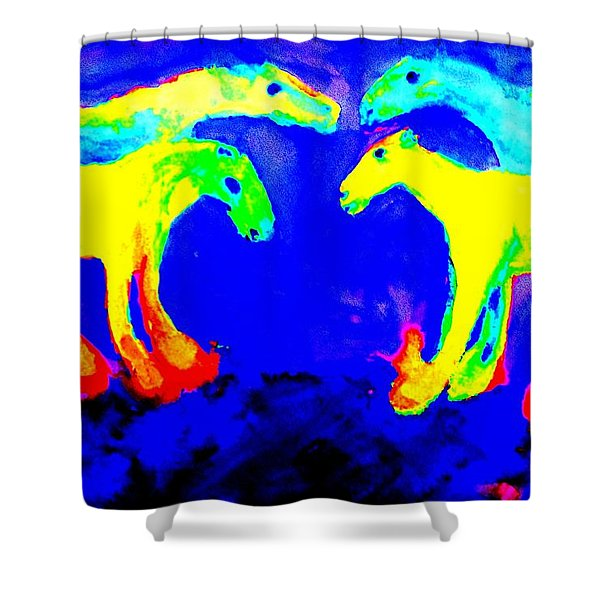 Meeting my friends Shower Curtain by Hilde Widerberg