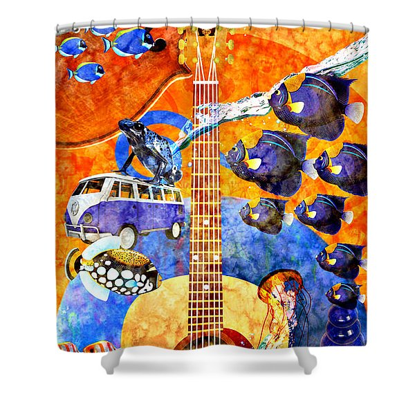 Melodies And Sunset Seas Shower Curtain by Ally  White
