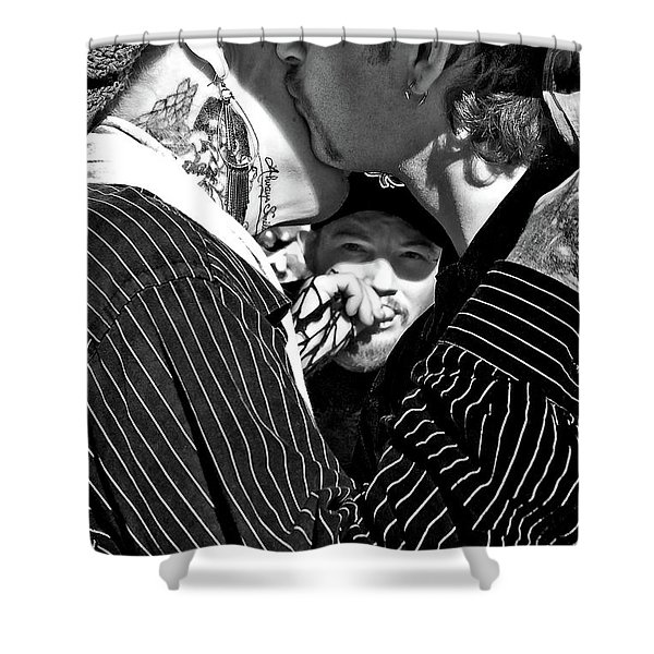 Menage A Trois Shower Curtain by Kathleen K Parker