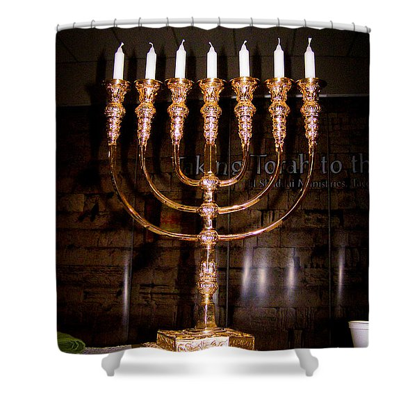 Menorah Shower Curtain by Roger Reeves  and Terrie Heslop
