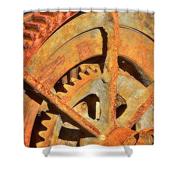 Meshing Gears Shower Curtain by Phyllis Denton
